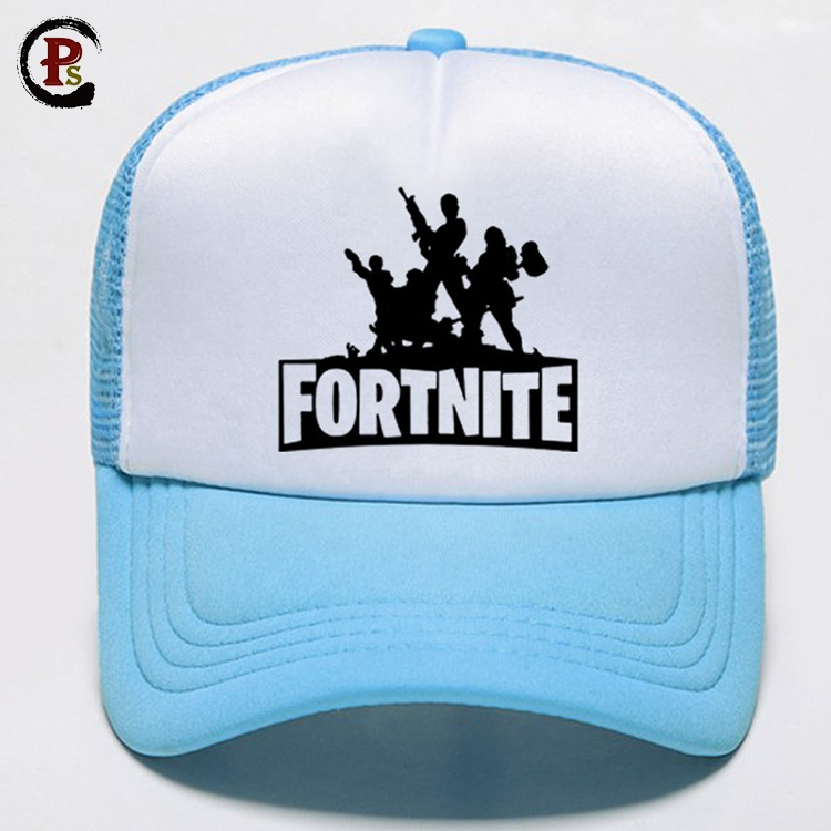 Fortnite royal battle baseball blue and white <strong>hat</strong> accept custom in stock caps