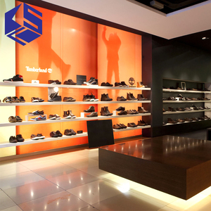 Modern shoes shop interior design wood shoes display shelf