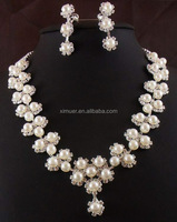 Factory custom fashion bridal jewelry sets pearl crystal