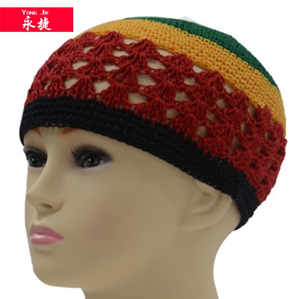 rainbow color 100% cotton kufi crochet beanie skull cap knit hat