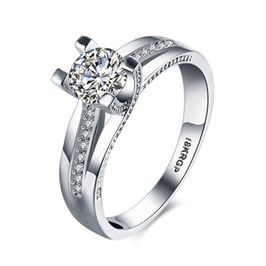 Women White Gold Plated Rings Promise Diamond Eternity Engagement Rings Cubic Zircon Wedding Ring