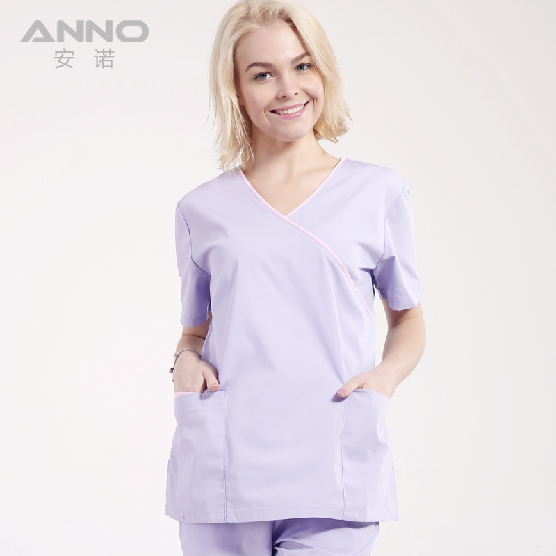 2015 new V-neck nurse doctors operating room surgical suit uniforms for women hospital gowns medical scrub sets short sleeve