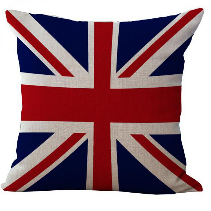 ebe30a716bd American And British Flags Cotton Linen Throw Pillow Case Cushion Cover