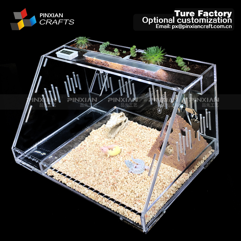 Transparent Yakeli Reptile Box Reptile case Acrylic PMMA Picking Pet bin acrylic Pet Feeding Box