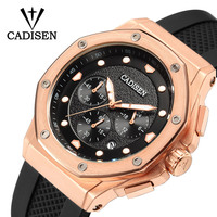 New design Cadisen silicone rubber band rose gold case luxury Chronograph watch for man