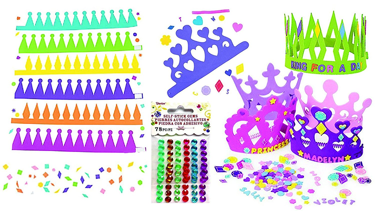 Princess Foam Tiara Kit for 12 & Prince Foam Crown Kit for 12, Birthday Party Craft Activity or Favor Set, Over 900 Self-Adhesive Shapes, Letters and 156 Gems to Decorate Your Tiaras and Crowns