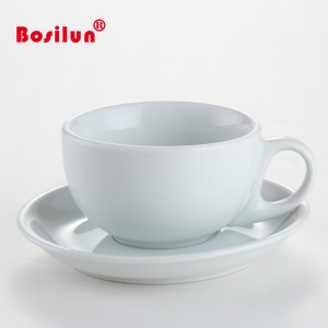 Drinkware type 220ml plain white ceramic tea cup and saucer set