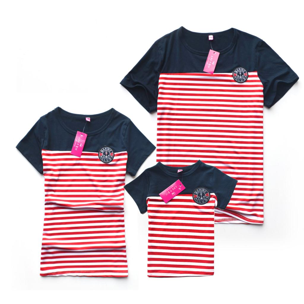 55de1f061 Get Quotations · 2015 Fmaily Clothing Korean Mother Father Baby Striped  T-shirt Summer Style Matching Family Set