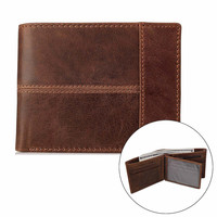 Classic Vintage Brown Mens Cowboy Full Grained Genuine Leather Wallet