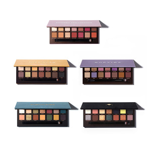 Small MOQ private label Cosmetics Soft glam Norvina Eye shadow Palette 14 Colors High Glitter Eyeshadow with makeup brush