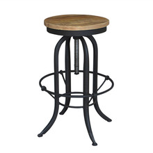 French Style Vintage Wooden Metal Bar Stool