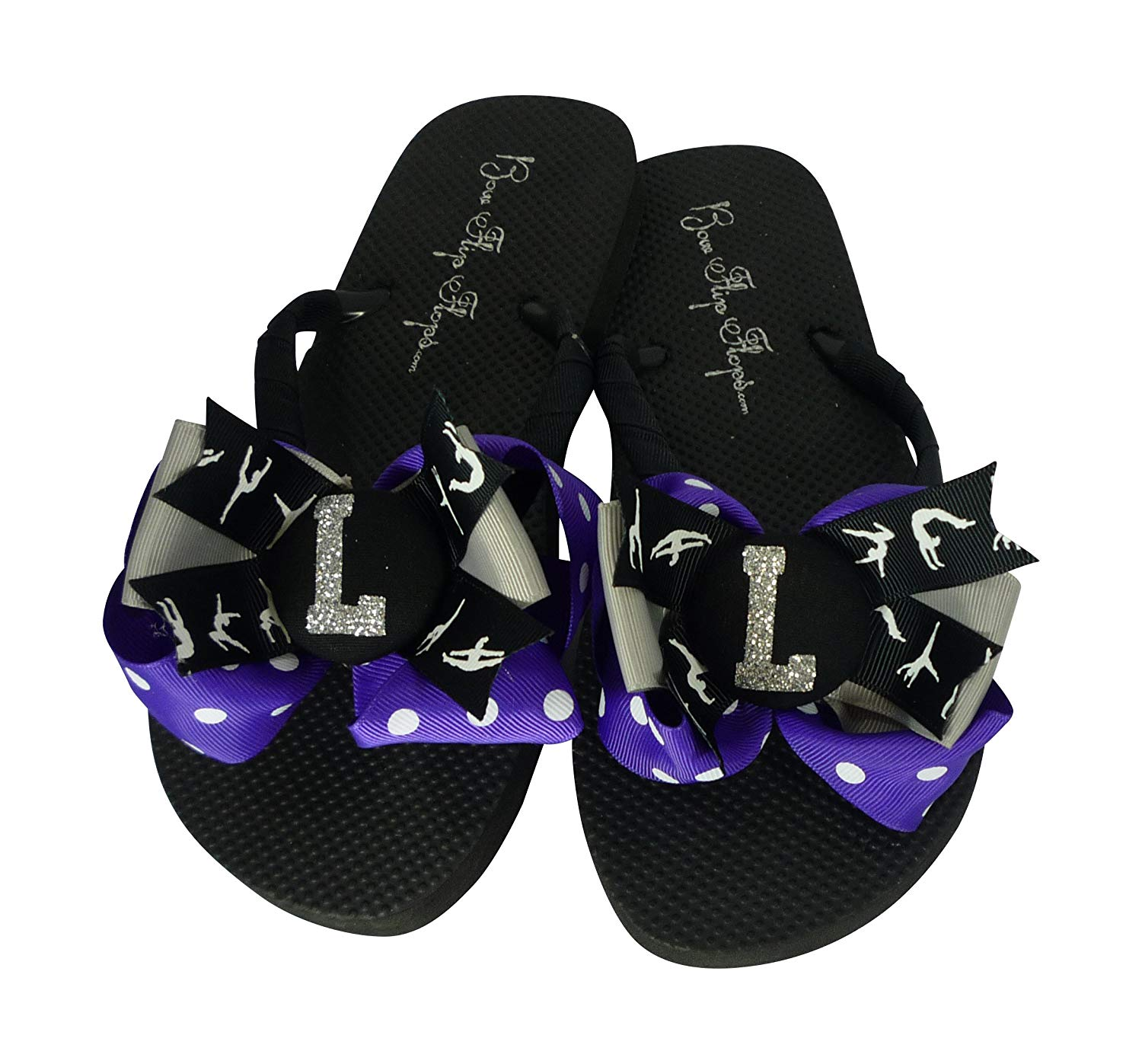 c117aa401616c3 Get Quotations · Purple Silver Personalized Gymnastics Glitter Bow Flip  Flops for Women