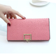 Fashion wholesale woman pu leather wallet ladies long buckle wallet