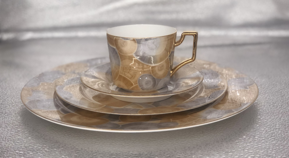 P&T Royal Ware 4 PCS Bone China Tableware Set Marble Design Plate Coffee Cup and Saucer