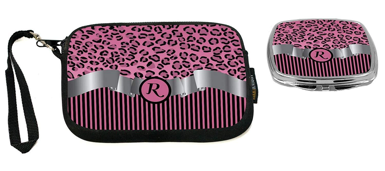 "Rikki Knight Letter""R"" Light Pink Leopard Print Stripes Monogram Design Neoprene Clutch Wristlet with Matching Square Compact Mirror"