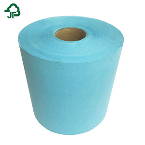 Strong Tensile 1Ply Blue Color Roll Style Industry Paper Hand Towel