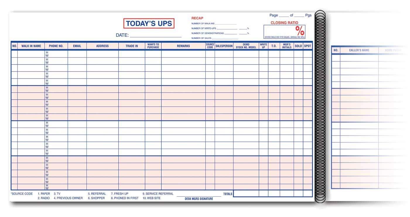 Today's UPs Log Book/Phone Log/Customer Contact Log (50 sheets)