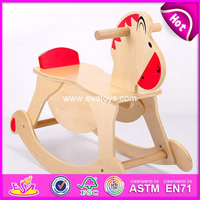 2017 Hot sale wooden rocking horse kids' wooden rocking horse toy, cheap wooden rocking horse W16D109