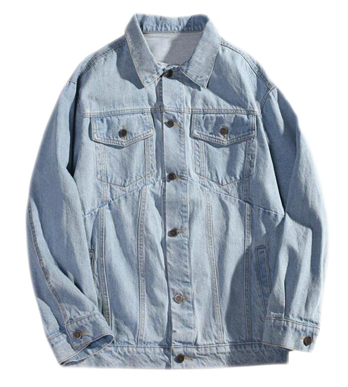 M/&S/&W Mens Button Down Faux Leather Fleece-Lined Anorak Jacket Khaki XS