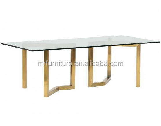 Event Wedding Stainless Steel Tempered Glass Dining Table In Brass