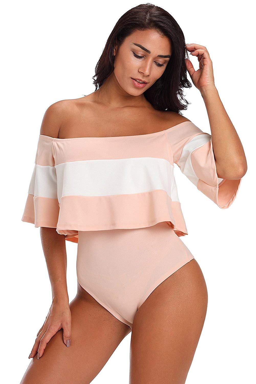 0d8ca27ba033 Get Quotations · maydaiyar Womens Black Pink Stripe Bardot Bodysuit Slash  Neck Ruffles Short Sleeve Sexy Bodysuit (s