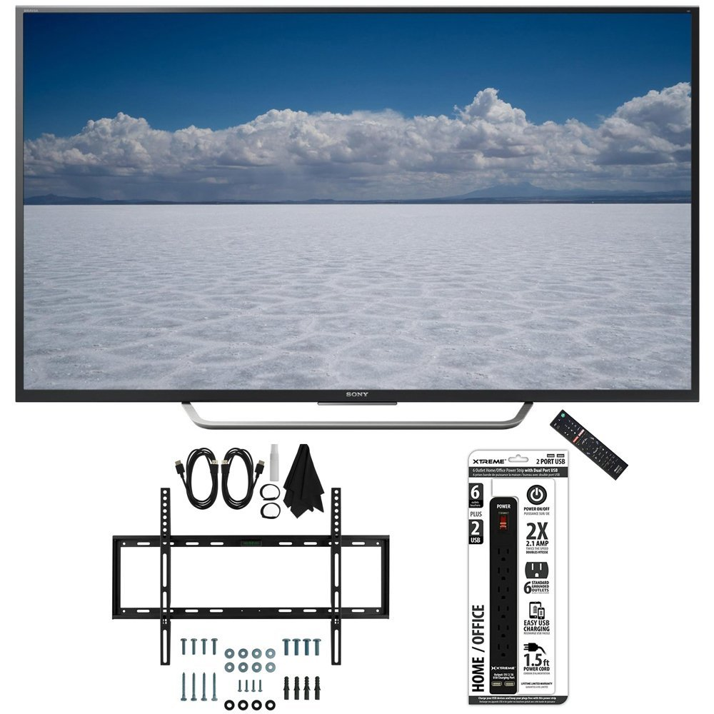 """Sony XBR-49X700D - 49"""" Class 4K Ultra HD TV with Slim Wall Mount Bundle includes TV, Slim Flat Wall Mount Ultimate Kit and 6 Outlet Power Strip with Dual USB Ports"""