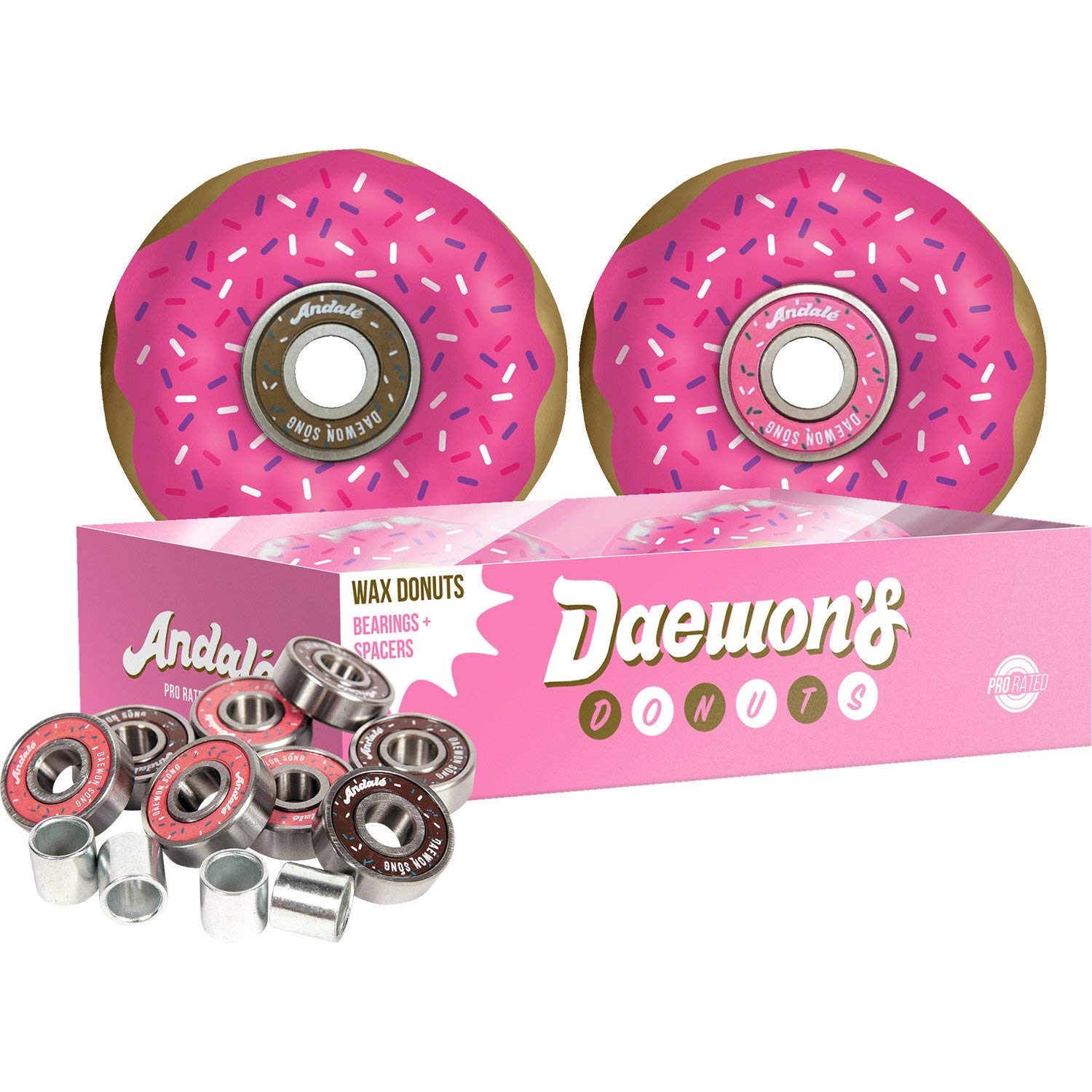 Andale Bearings 8mm Daewon's Donut Box Pro Rated Precision Includes Free Wax with Spacers