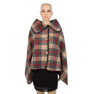 Wholesale Batwing Sleeve Buffalo Plaid Women Ponchos Coat