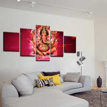 Home Decor Art Frame Woonkamer HD Prints Poster 5 Stuks India Tibetaanse <span class=keywords><strong>Ganesha</strong></span> Canvas Schilderij Olifant Hoofd God Pictures