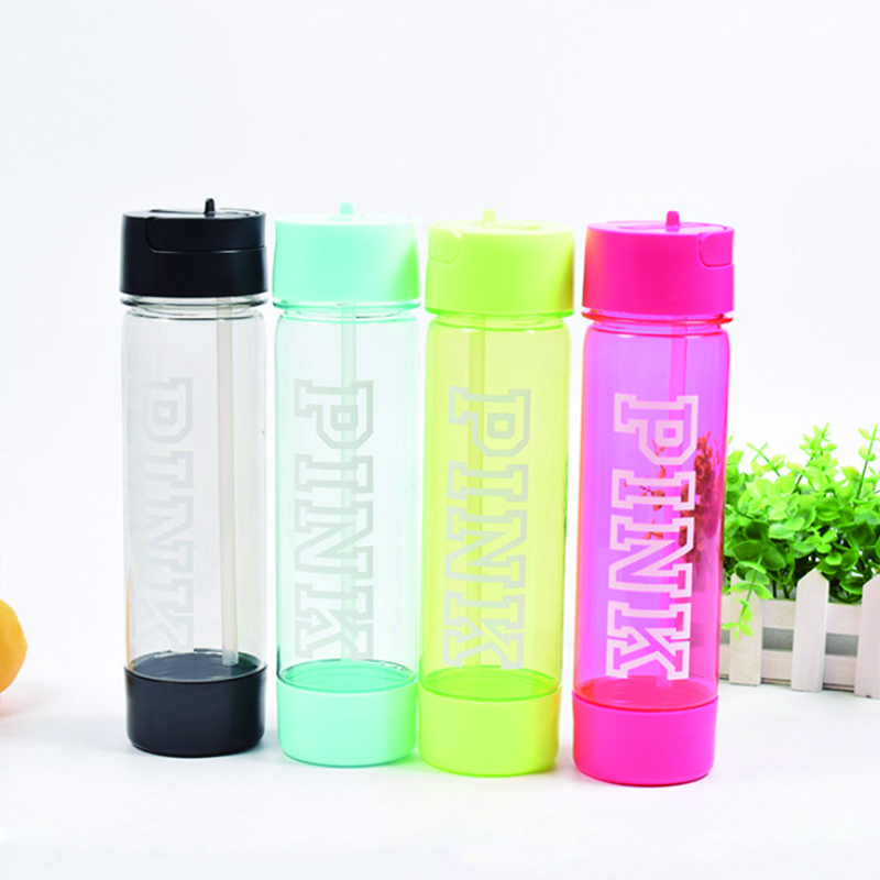Custom Logo BPA Free Sport Water Bottle  with Straw  Plastic Drinking Bottle for  Running, Cycling, Travel