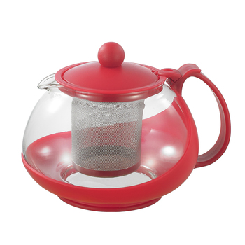 SS Infuser And Plastic Handle Borosilicate Glass Teapot
