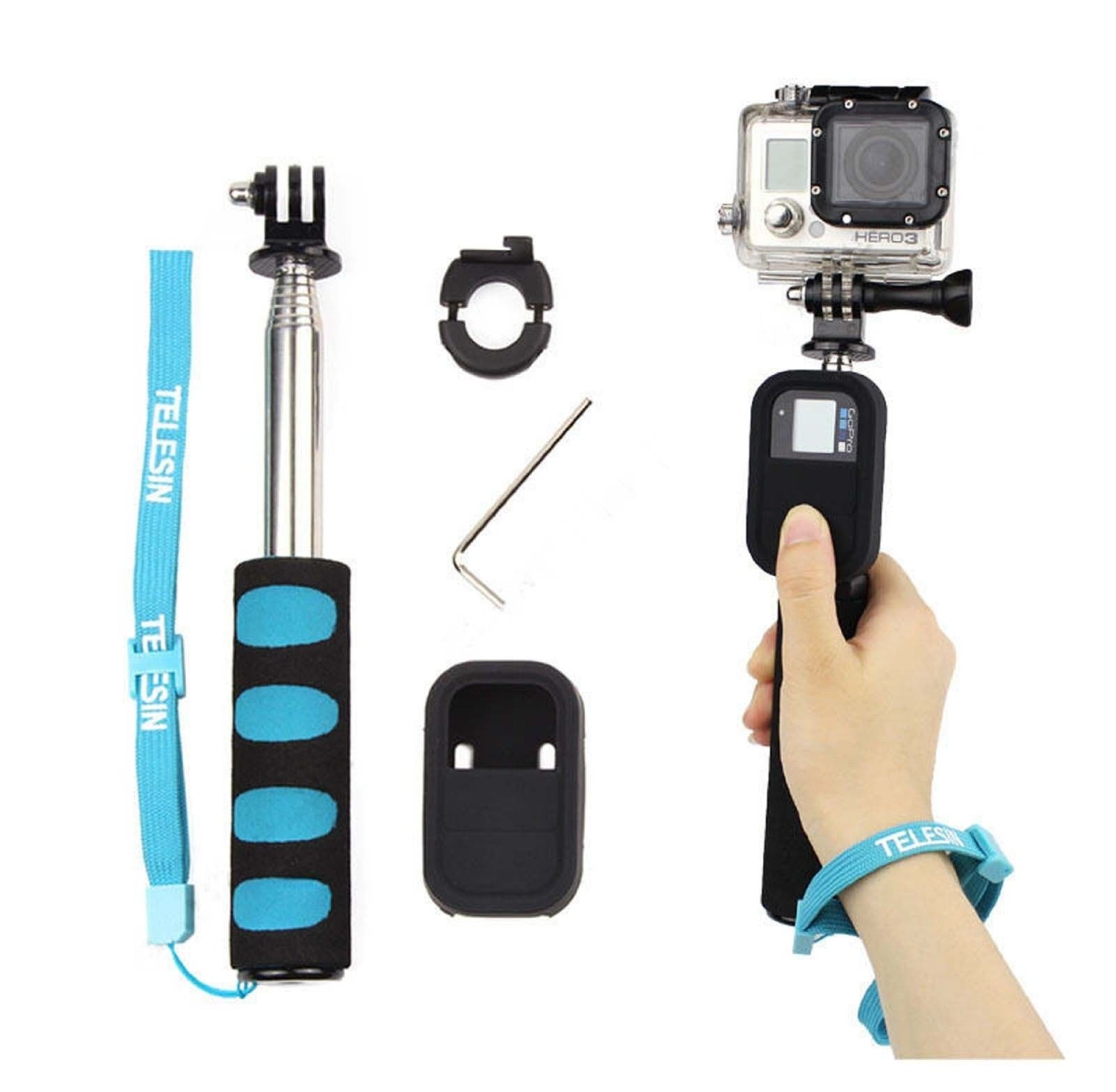 Get Quotations · Farmunion Handheld Remote Pole Selfie Stick Extendable Telescopic Monopod for GoPro 2 3 4