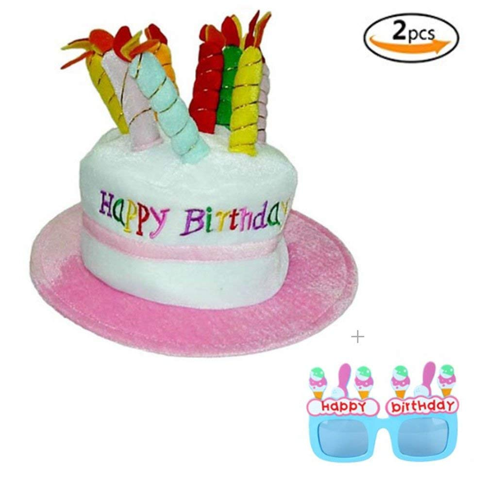 Get Quotations Happy Birthday Cake Hat With Candles Sunglasses Set Great Value For Party