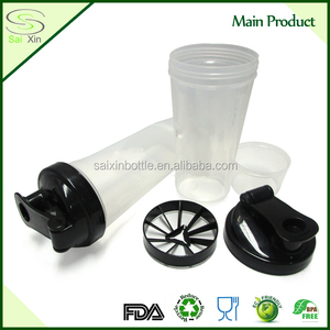 Eco-friendly BPA-free 10oz electric gym bottle shaker with screw sparyer cap wholesale