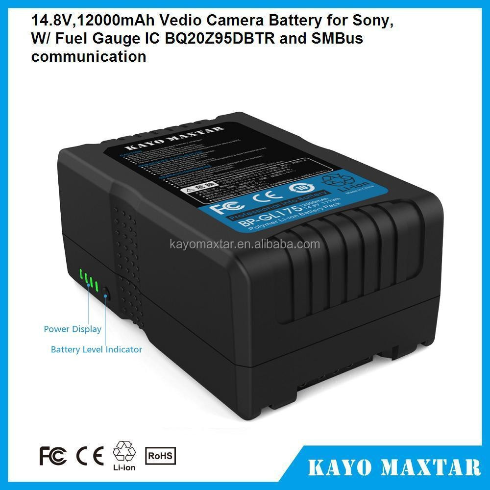 KAYO MAXTAR BP-GL175 177Wh(12Ah/14.8V) V Mount Battery for Sony Video Camera Battery Pack V-Lock batteries for sony camcorder