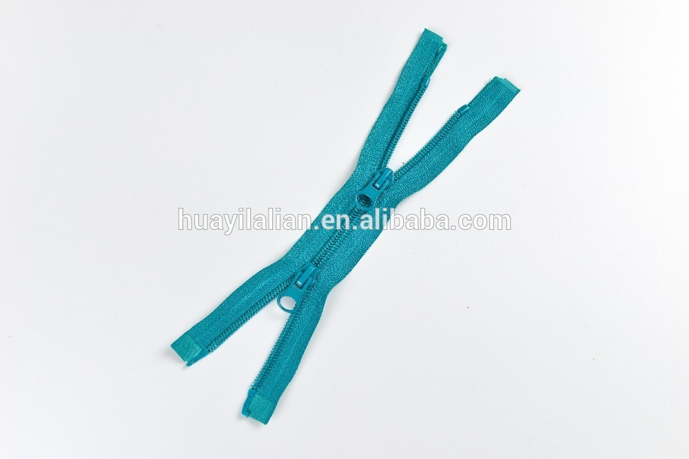 7# nylon zipper with two ways open end Bottom slider plastic top stopper