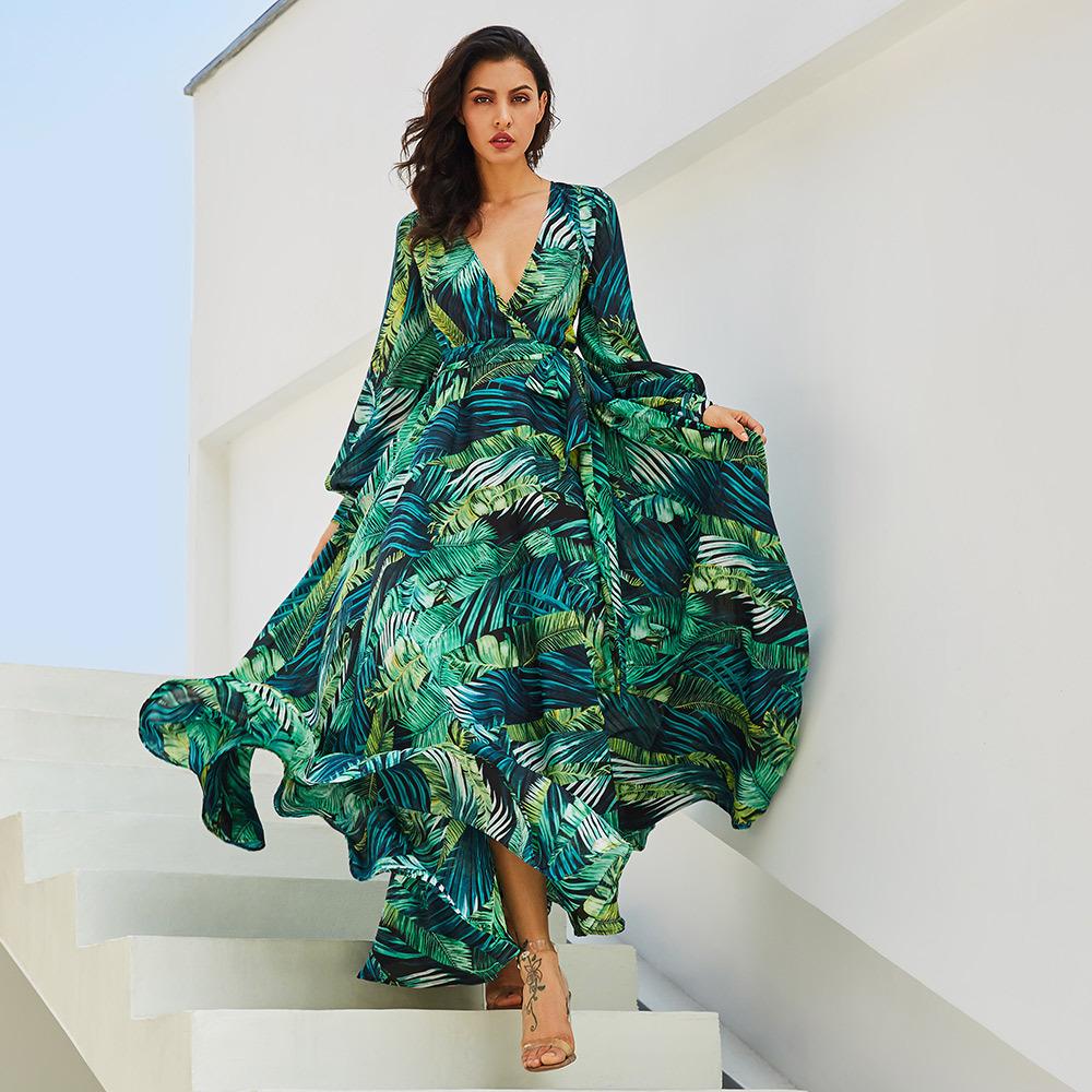 Ebay Wish New Come mujeres de manga larga impreso vestido con mangas Puff Floral Tropical Maxi vestido