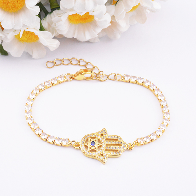 Chinese products wholesale palm shape fashion AAA Zircon chain 18k gold plated bracelet
