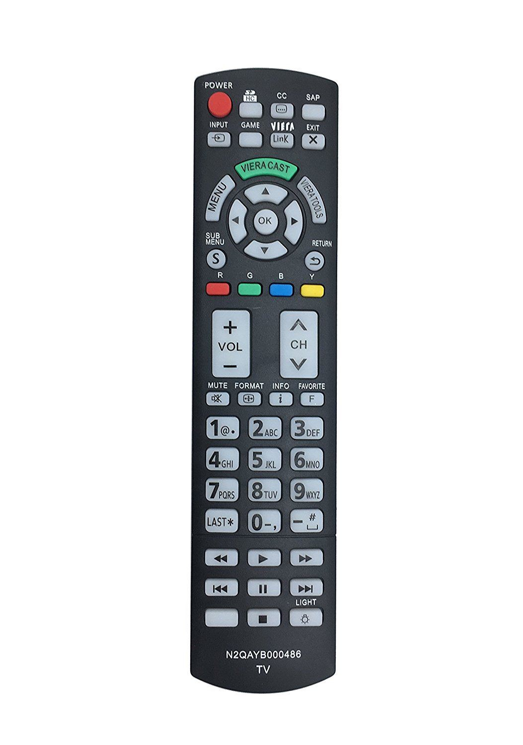 New N2QAYB000486 Replaced Remote fit for Panasonic LCD TV TC-P50VT20 TC-P58VT25 TC-P42G25 TC-P46G25 TC-46PGT24 TC-P50G20 TC-P50G25 TC-P50GT25 P50VT20 TC-P50VT25 TC-P54G20 TC-P54G25
