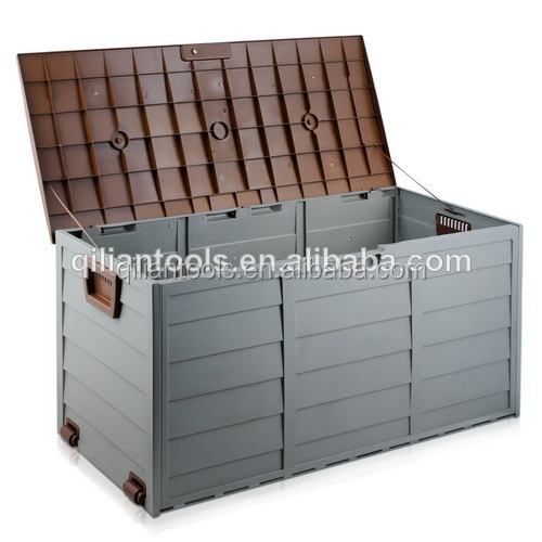 Outdoor Storage Box 290L Plastic Container Weatherproof Brown Grey - NEW