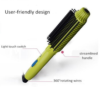 Wholesales hot selling multifunctional anti-scald hair straightener brush with led light