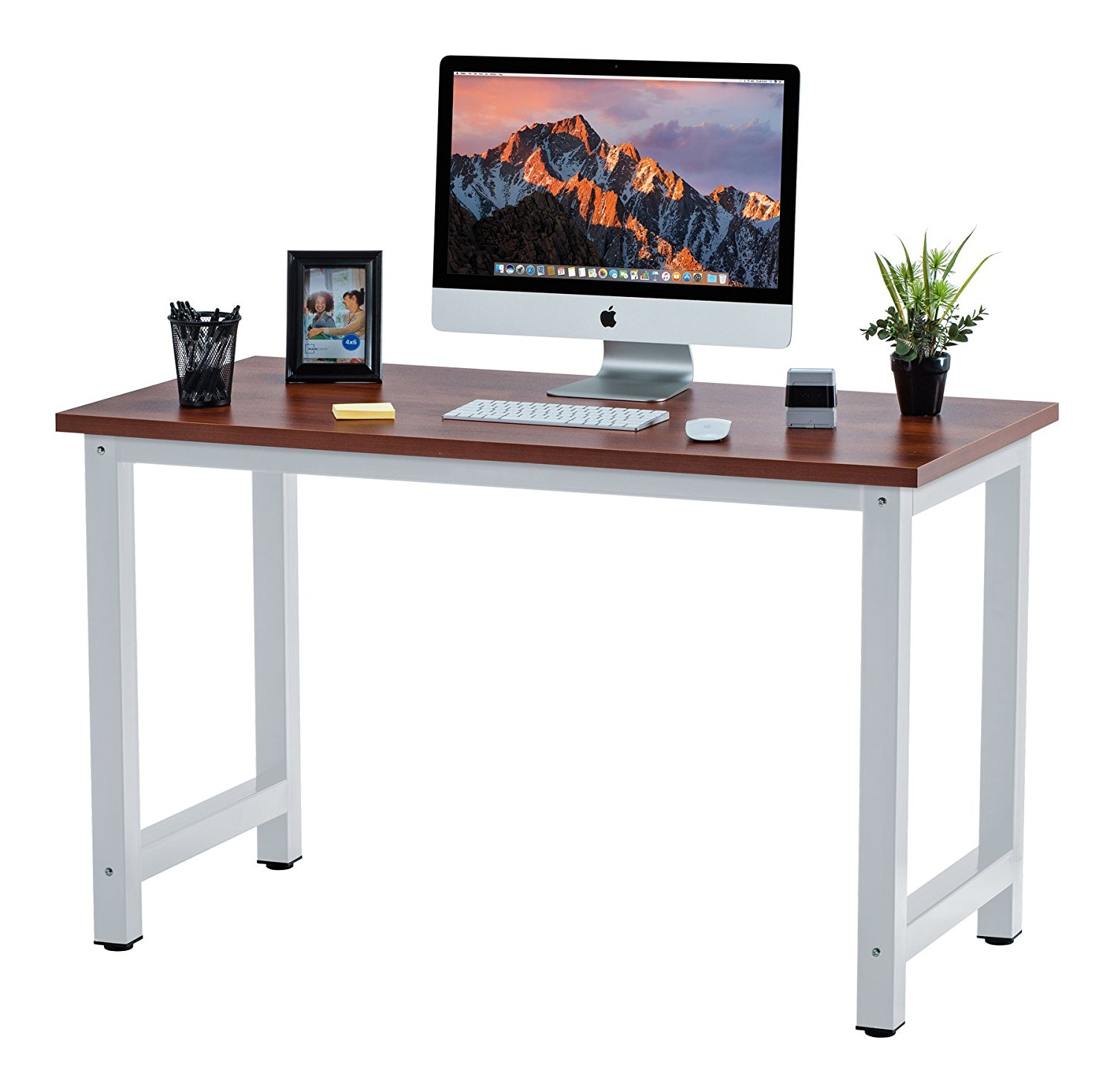 "Fineboard 47"" Stylish Home Office Computer Desk Writing Table Elegant & Modern Design, Teak/White"
