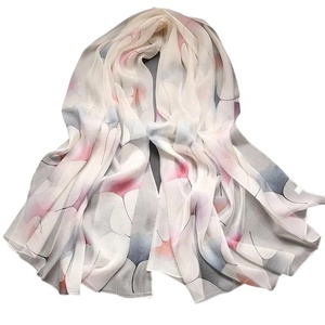 Ready To Ship Wholesale Custom Digital Printed Silk Scarf Neck Scarves For Lady
