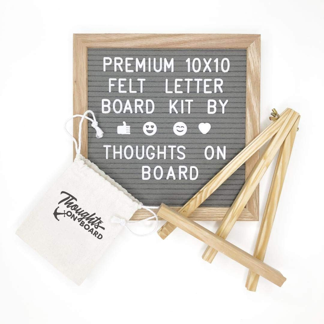 Premium Grey Felt Letter Board Kit 10x10 inch, 340 Letters, Numbers & Emoji's. Message Board Sign, Wall Mount, Oak Wood Frame, with Display Stand Canvas Bag & Pair of Scissors - by Thoughts On Board
