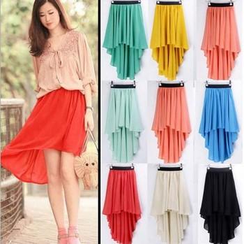 80370dd057df8 Asymmetrical Irregular Chiffon Pleated Skirt Front Short Back Long Fishtail  Skirt Q903