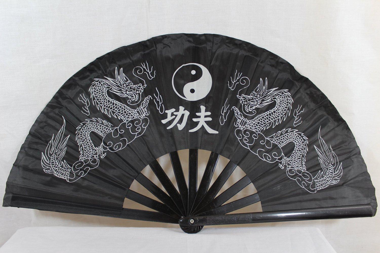 Oriental Dragon Kung Fu/Tai Chi/Dance/Practice Performance Hand Folding Fan Black