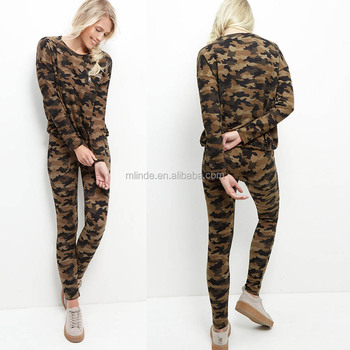 5e11623029687 Hunting Camouflage Clothing Manufacturer Women Green Camo Print Sweater And  Leggings Sets