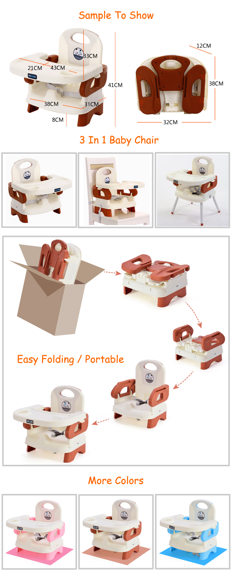 Plastic portable travel low booster seat dining eating chair for feeding