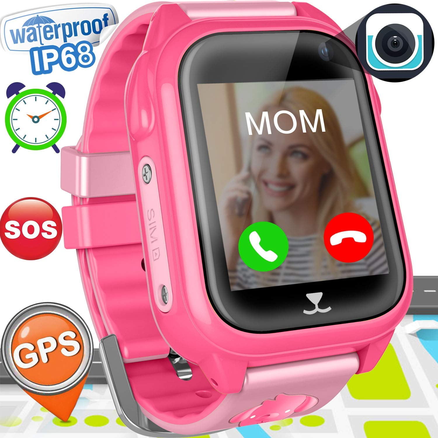 """Kids Smart Watch Phone GPS Tracker for Girls Boys IP68 Waterproof Fitness Smartwatch with Pedometer Camera Anti-lost SOS Alarm Clock 1.54"""" Touch Screen Sport Game Wrist Watch Child Back to School Gift"""