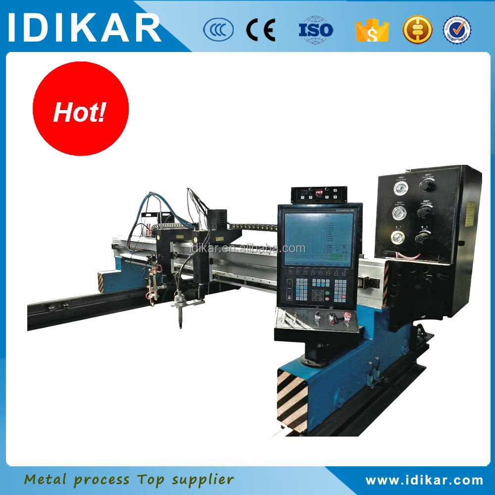 Low cost gantry gas cnc metal cutting machine with tow flame torch